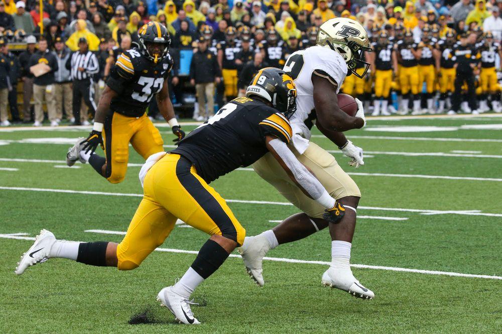 Iowa Hawkeyes defensive back Geno Stone (9) during Iowa football vs Purdue on Saturday, October 19, 2019 at Kinnick Stadium. (Lily Smith/hawkeyesports.com)