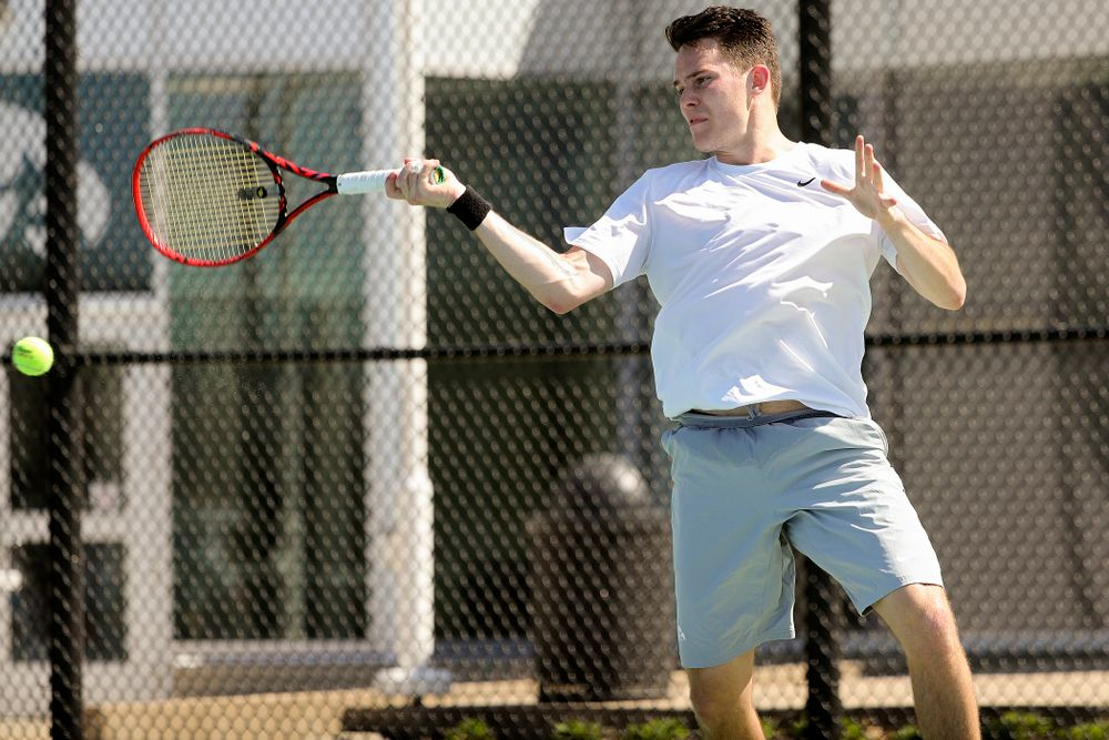 Iowa's Jonas Larson during his match against Michigan at the Hawkeye Tennis and Recreation Complex in Iowa City on Sunday, Apr. 21, 2019. (Stephen Mally/hawkeyesports.com)