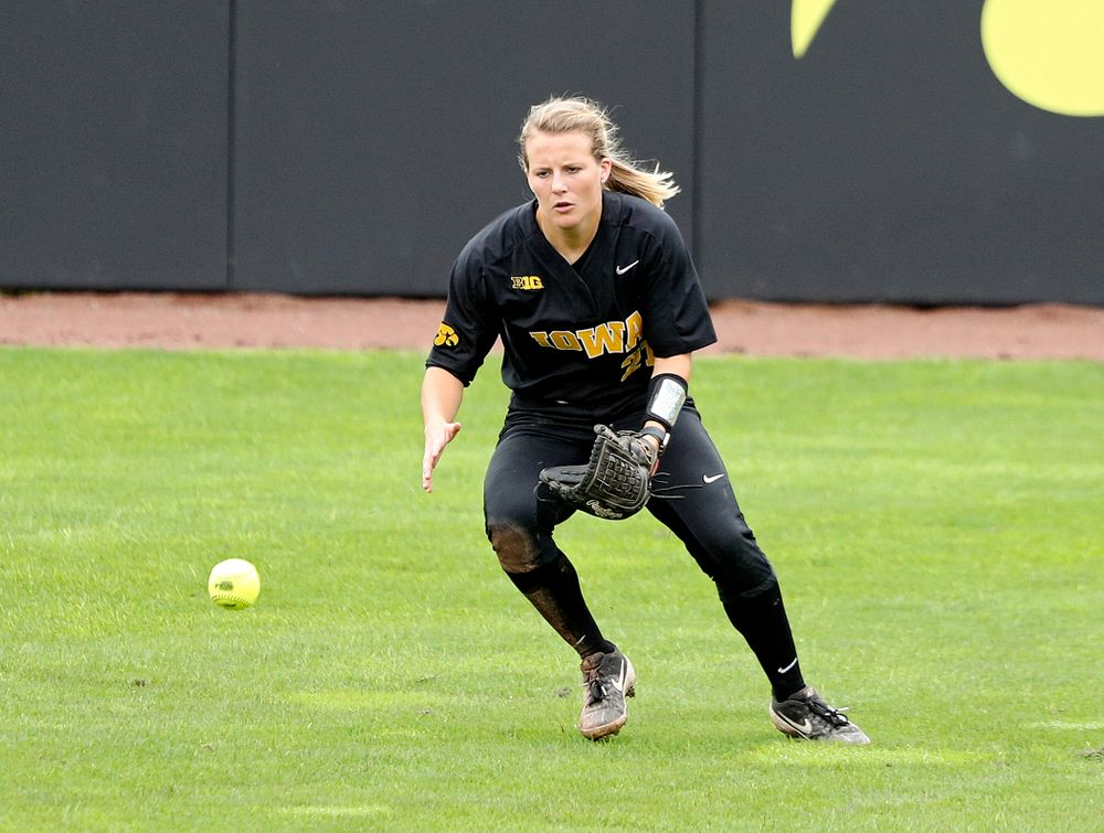 Iowa outfielder Havyn Monteer (21) fields a ball during the fifth inning of their game against Iowa Softball vs Indian Hills Community College at Pearl Field in Iowa City on Sunday, Oct 6, 2019. (Stephen Mally/hawkeyesports.com)