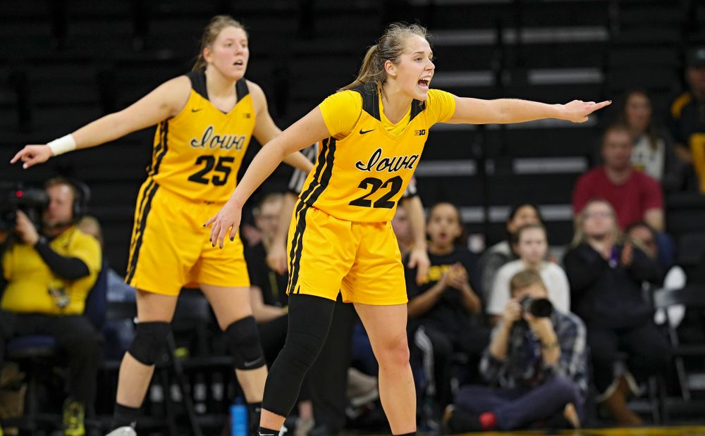 Iowa Hawkeyes guard Kathleen Doyle (22) directs traffic on defense during the fourth quarter of their game at Carver-Hawkeye Arena in Iowa City on Thursday, January 23, 2020. (Stephen Mally/hawkeyesports.com)