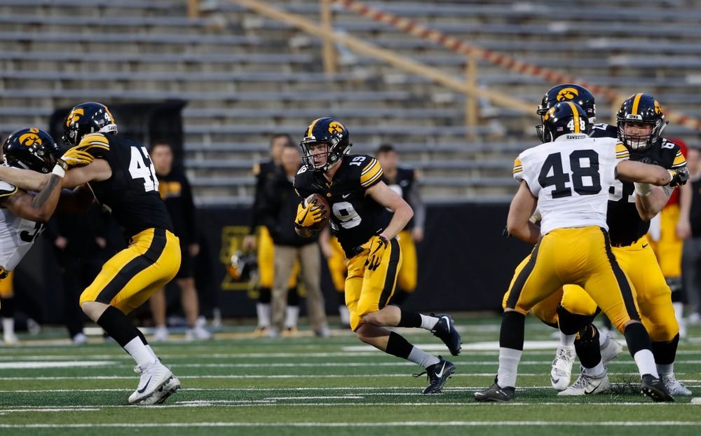Iowa Hawkeyes wide receiver Max Cooper (19) during the final spring practice Friday, April 20, 2018 at Kinnick Stadium. (Brian Ray/hawkeyesports.com)
