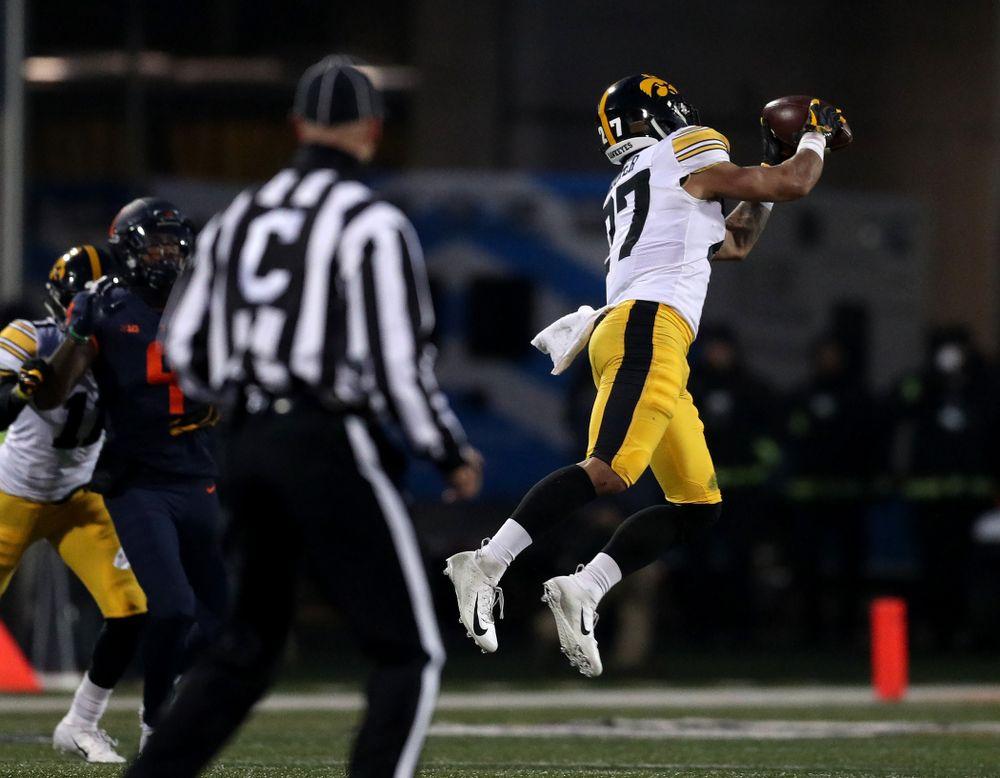 Iowa Hawkeyes defensive back Amani Hooker (27) intercepts a pass against the Illinois Fighting Illini Saturday, November 17, 2018 at Memorial Stadium in Champaign, Ill. (Brian Ray/hawkeyesports.com)