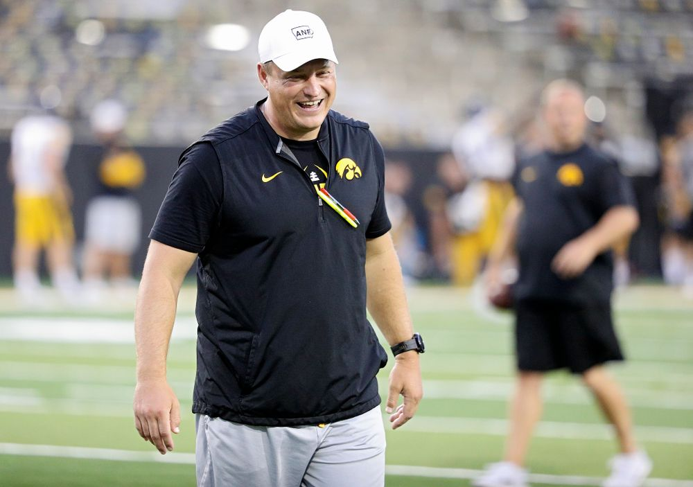 Iowa Hawkeyes offensive coordinator Brian Ferentz laughs during Fall Camp Practice No. 12 at Kinnick Stadium in Iowa City on Thursday, Aug 15, 2019. (Stephen Mally/hawkeyesports.com)