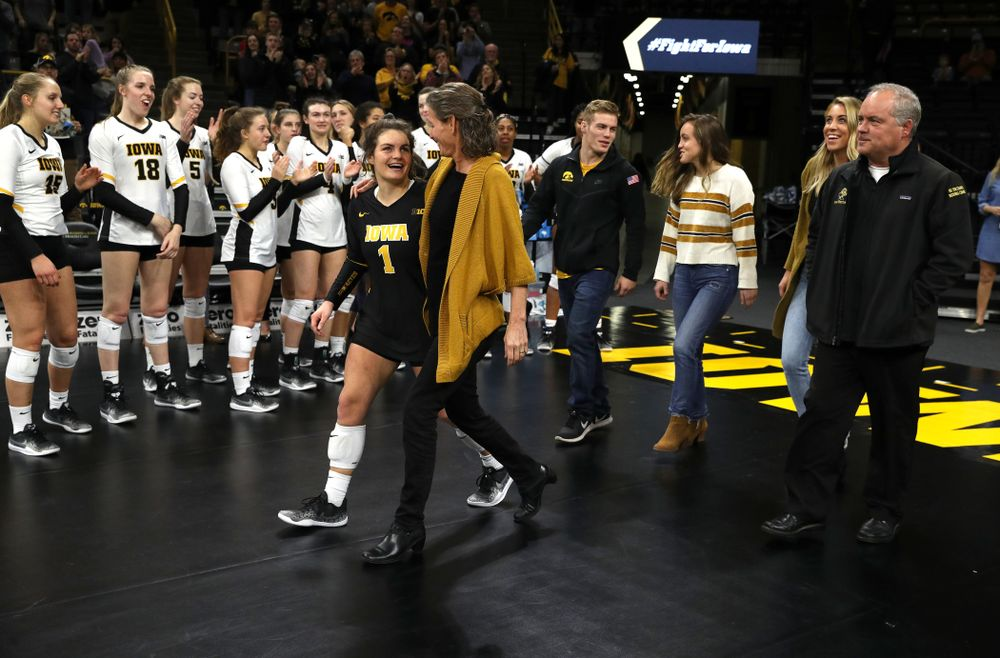 Iowa Hawkeyes defensive specialist Molly Kelly (1) during senior day activities before their game against the Ohio State Buckeyes Saturday, November 24, 2018 at Carver-Hawkeye Arena. (Brian Ray/hawkeyesports.com)