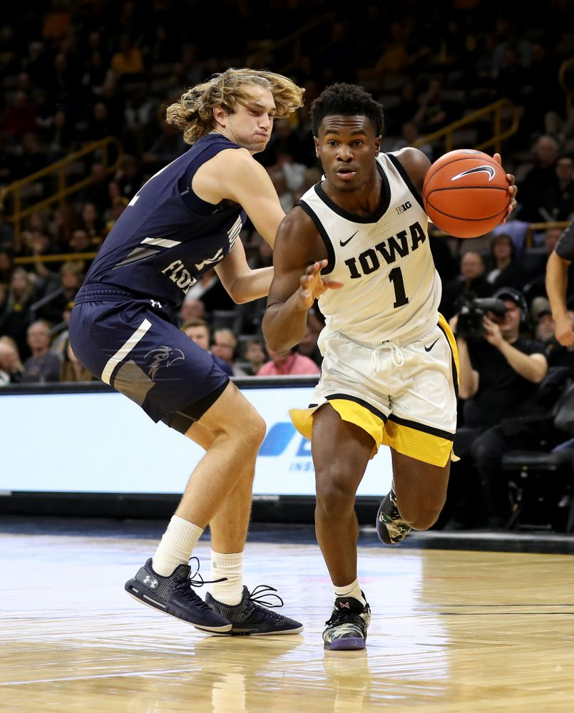 Iowa Hawkeyes guard Joe Toussaint (1) against North Florida Thursday, November 21, 2019 at Carver-Hawkeye Arena. (Brian Ray/hawkeyesports.com)