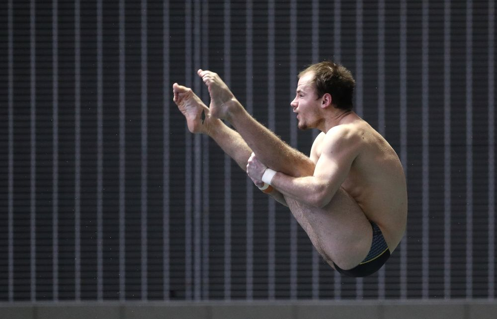 Iowa's Anton Hoherz competes on the 3-meter springboard during the third day of the 2019 Big Ten Swimming and Diving Championships Thursday, February 28, 2019 at the Campus Wellness and Recreation Center. (Brian Ray/hawkeyesports.com)