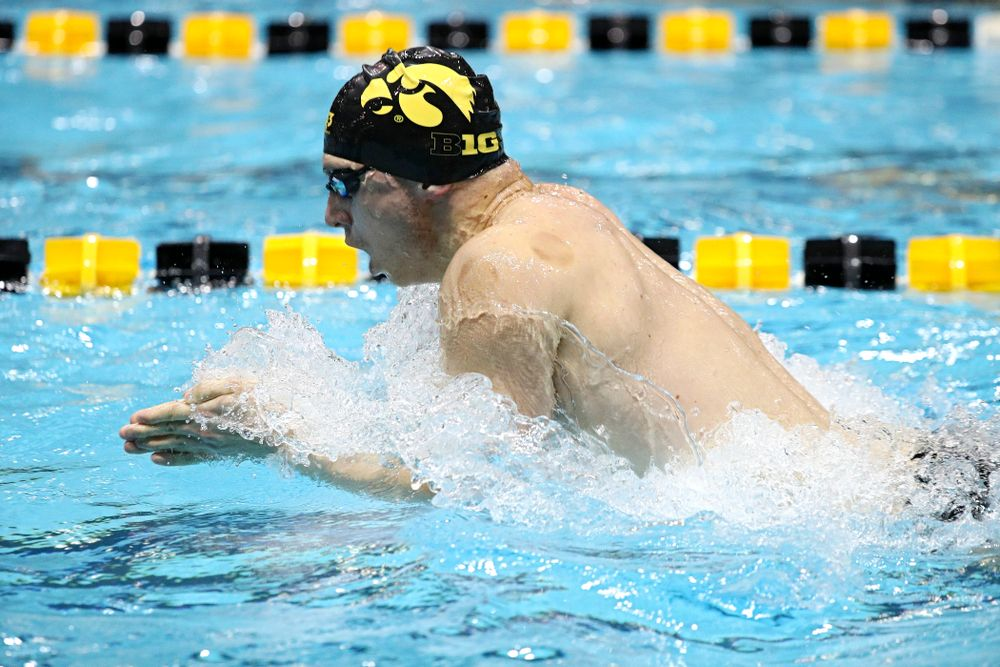 Iowa's Aleksey Tarasenko swims the breaststroke section of the 100-yard individual medley event during their meet against Michigan State at the Campus Recreation and Wellness Center in Iowa City on Thursday, Oct 3, 2019. (Stephen Mally/hawkeyesports.com)