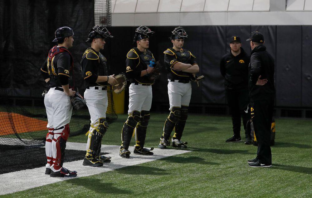 University of Iowa catchers at first baseball practice on Jan. 25, 2019. (Darren Miller/hawkeyesports.com)