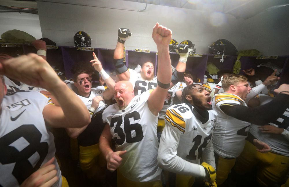 Iowa Hawkeyes fullback Brady Ross (36) sings the ÒFight SongÓ following their victory against the Northwestern Wildcats Saturday, October 26, 2019 at Ryan Field in Evanston, Ill. (Brian Ray/hawkeyesports.com)