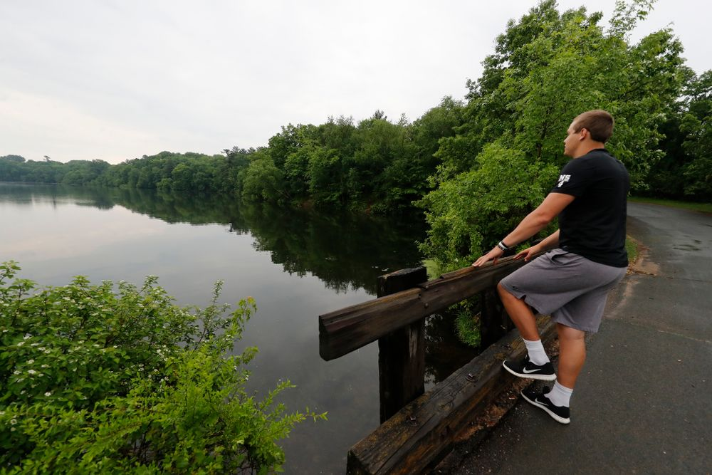 Iowa Hawkeyes quarterback Nathan Stanley (4) looks over the lake where he likes to fish with his friends Wednesday, May 30, 2018 in Menomonie, Wisc. (Brian Ray/hawkeyesports.com)