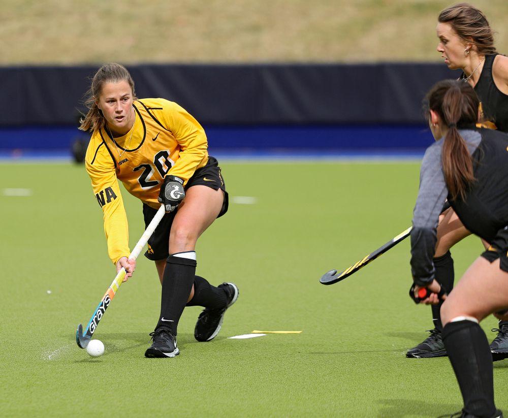 Iowa's Sophie Sunderland (20) passes during their practice at Karen Shelton Stadium in Chapel Hill, N.C. on Thursday, Nov 14, 2019. (Stephen Mally/hawkeyesports.com)