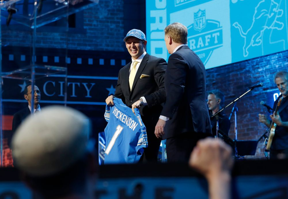 Iowa's T.J. Hockenson is selected by the Detroit Lions with the 8th pick of the 2019 NFL Draft Thursday, April 25, 2019 in Nashville. (Darren Miller/hawkeyesports.com)