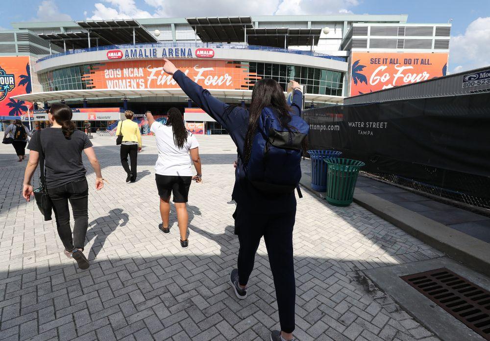Iowa Hawkeyes forward Megan Gustafson (10) walks to Amalie Arena Thursday, April 4, 2019 in Tampa, FL. (Brian Ray/hawkeyesports.com)
