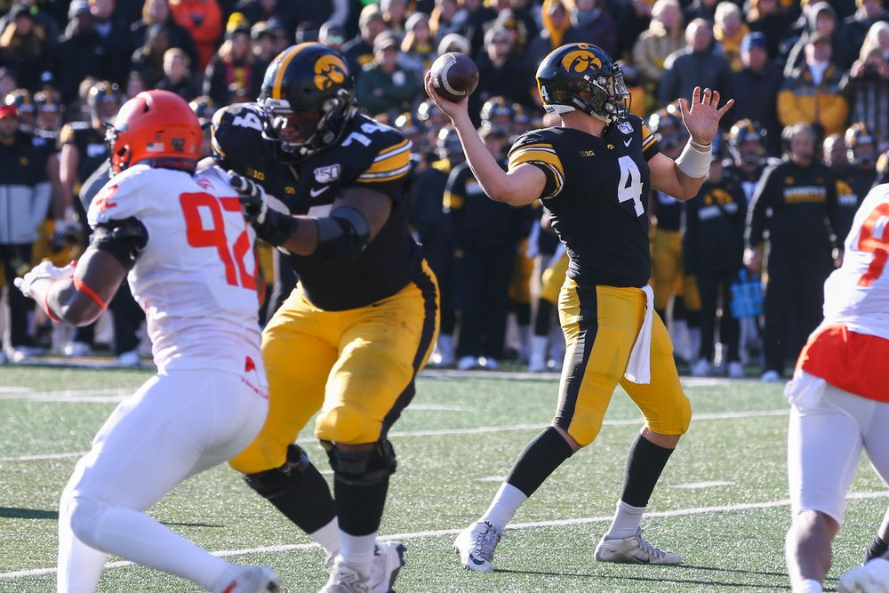 Iowa Hawkeyes quarterback Nate Stanley (4) during Iowa football vs Illinois on Saturday, November 23, 2019 at Kinnick Stadium. (Lily Smith/hawkeyesports.com)