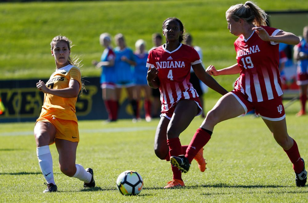 Iowa Hawkeyes defender Hannah Drkulec (17) passes the ball during a game against Indiana at the Iowa Soccer Complex on September 23, 2018. (Tork Mason/hawkeyesports.com)