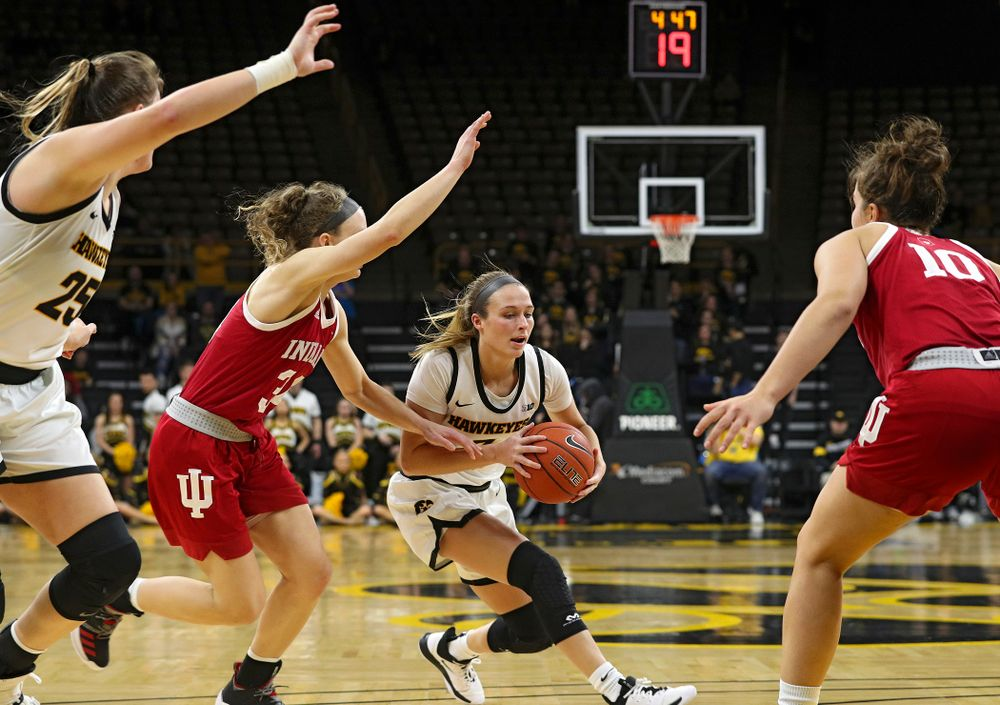 Iowa Hawkeyes guard Makenzie Meyer (3) drives with the ball during the first overtime period of their game at Carver-Hawkeye Arena in Iowa City on Sunday, January 12, 2020. (Stephen Mally/hawkeyesports.com)
