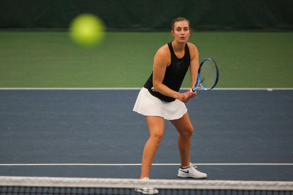 IowaÕs Ashleigh Jacobs at womenÕs tennis senior day vs Nebraska on Saturday, April 13, 2019 at the Hawkeye Tennis and Recreation Complex. (Lily Smith/hawkeyesports.com)