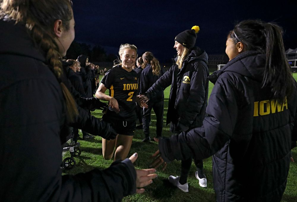 Iowa midfielder Hailey Rydberg (2) is introduced before their match at the Iowa Soccer Complex in Iowa City on Friday, Oct 11, 2019. (Stephen Mally/hawkeyesports.com)