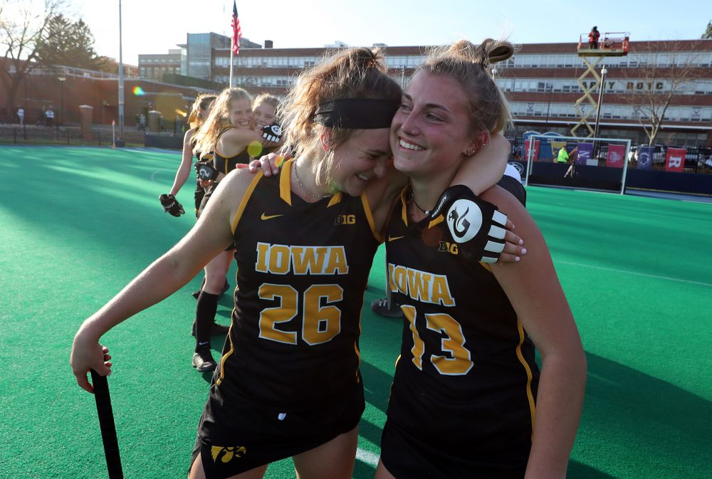 Iowa Hawkeyes forward Maddy Murphy (26) and forward Leah Zellner (13) celebrate their 1-0 overtime victory over Penn State to win the 2019 Big Ten Field Hockey Tournament Sunday, November 10, 2019 at Penn State (Brian Ray/hawkeyesports.com)