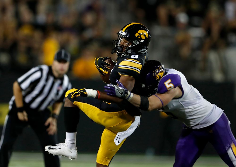 Iowa Hawkeyes wide receiver Tyrone Tracy Jr. (3) against the Northern Iowa Panthers Saturday, September 15, 2018 at Kinnick Stadium. (Brian Ray/hawkeyesports.com)