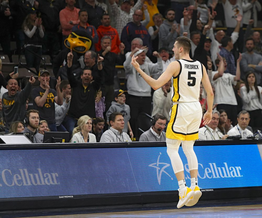 Iowa Hawkeyes guard CJ Fredrick (5) celebrates after making a 3-pointer during the second half of the game at Carver-Hawkeye Arena in Iowa City on Sunday, February 2, 2020. (Stephen Mally/hawkeyesports.com)