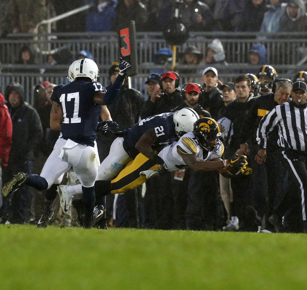 Iowa Hawkeyes wide receiver Brandon Smith (12) against the Penn State Nittany Lions Saturday, October 27, 2018 at Beaver Stadium in University Park, Pa. (Brian Ray/hawkeyesports.com)