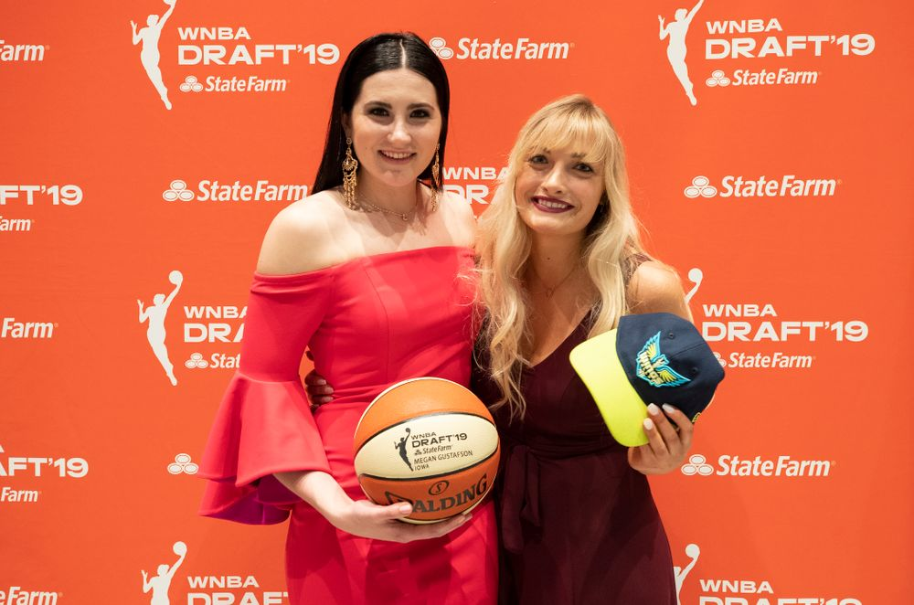 Iowa Hawkeyes forward Megan Gustafson (10) with her sister after being selected by the Dallas Wings in the second round of the 2019 WNBA Draft Wednesday, April 10, 2019 at Nike New York Headquarters in New York City. (Brian Ray/hawkeyesports.com)