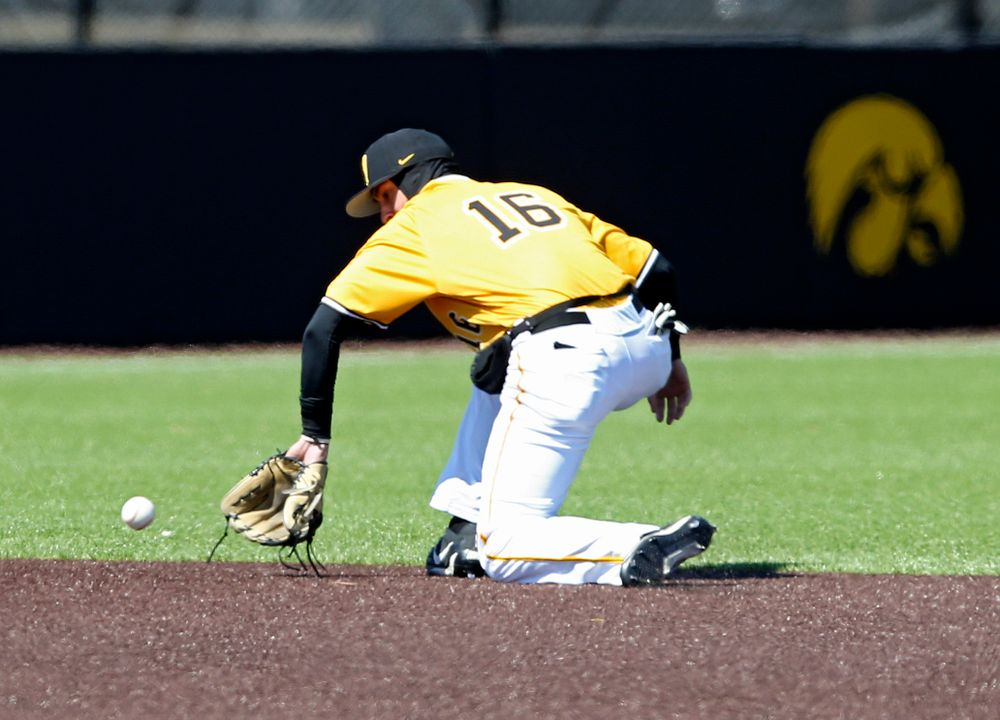 Iowa Hawkeyes shortstop Tanner Wetrich (16) fields a ground ball before throwing to first for an out during the second inning against Illinois at Duane Banks Field in Iowa City on Sunday, Mar. 31, 2019. (Stephen Mally/hawkeyesports.com)