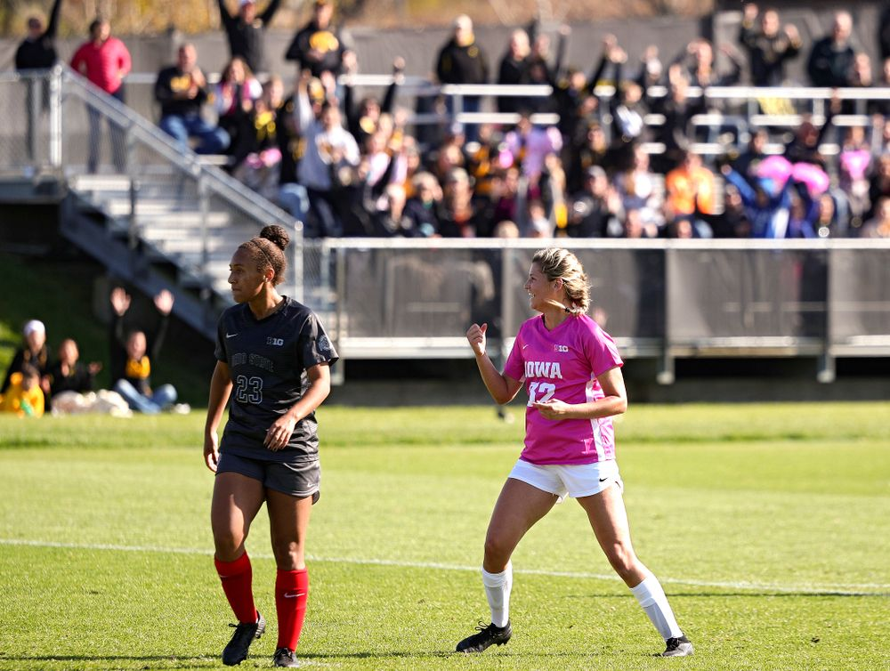 Iowa forward Gianna Gourley (32) pumps her fist after scoring a goal during the second half of their match at the Iowa Soccer Complex in Iowa City on Sunday, Oct 27, 2019. (Stephen Mally/hawkeyesports.com)