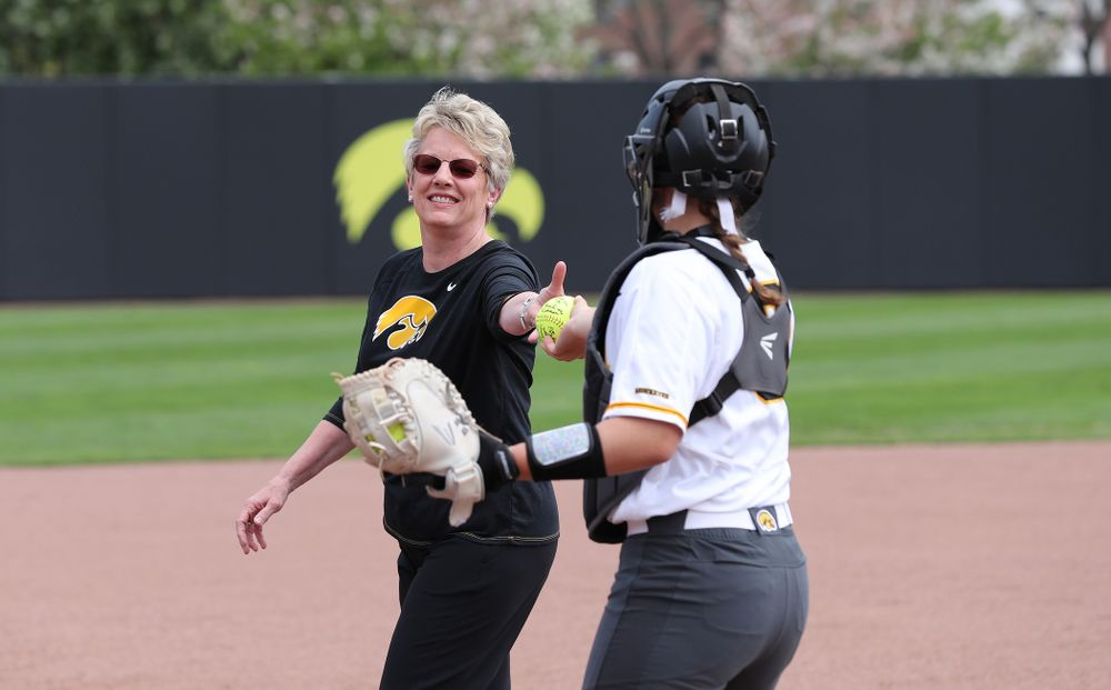 Deputy Athletics Director Barbara Burke against the Ohio State Buckeyes on senior day Sunday, May 5, 2019 at Pearl Field. (Brian Ray/hawkeyesports.com)