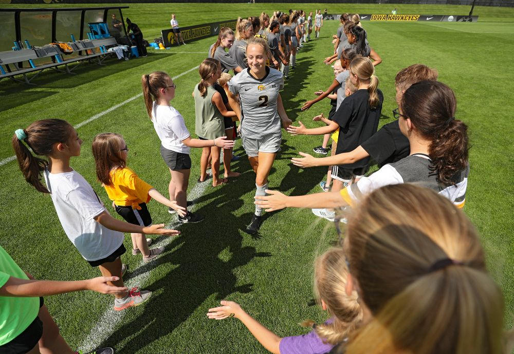 Iowa midfielder Hailey Rydberg (2) takes the field for their match at the Iowa Soccer Complex in Iowa City on Sunday, Sep 1, 2019. (Stephen Mally/hawkeyesports.com)