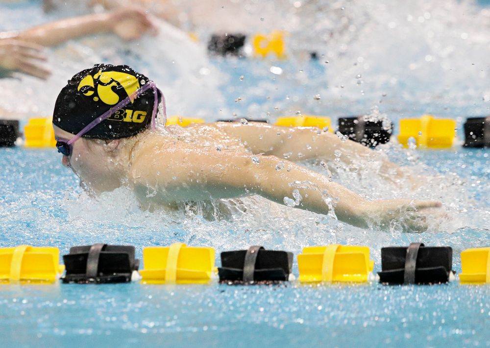 Iowa's Alleyna Thomas swims the butterfly section of the 100-yard individual medley event during their meet against Michigan State at the Campus Recreation and Wellness Center in Iowa City on Thursday, Oct 3, 2019. (Stephen Mally/hawkeyesports.com)