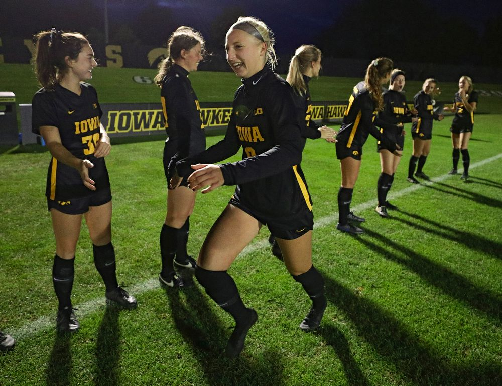Iowa defender Samantha Cary (9) is introduced before their match at the Iowa Soccer Complex in Iowa City on Friday, Oct 11, 2019. (Stephen Mally/hawkeyesports.com)