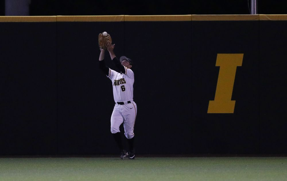 Iowa Hawkeyes outfielder Justin Jenkins (6) against the Michigan State Spartans Friday, May 10, 2019 at Duane Banks Field. (Brian Ray/hawkeyesports.com)