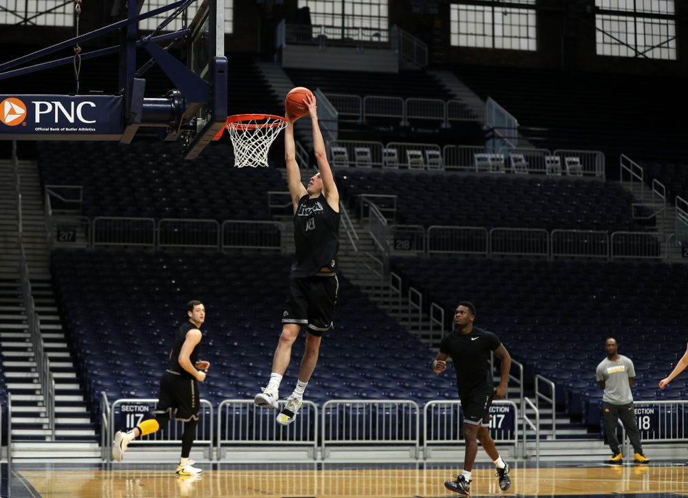 Iowa Hawkeyes guard Joe Wieskamp (10) during practice at Hinkle Fieldhouse  Wednesday, March 11, 2020 in Indianapolis. (Brian Ray/hawkeyesports.com)