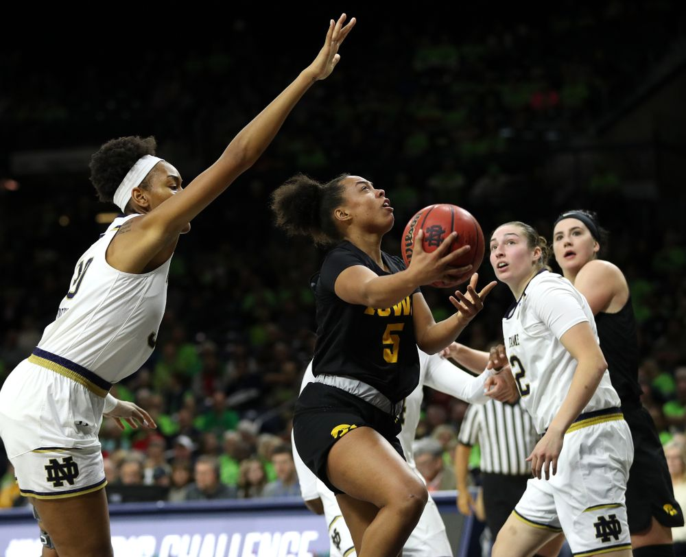 Iowa Hawkeyes guard Alexis Sevillian (5) against the Notre Dame Fighting Irish Thursday, November 29, 2018 at the Joyce Center in South Bend, Ind. (Brian Ray/hawkeyesports.com)