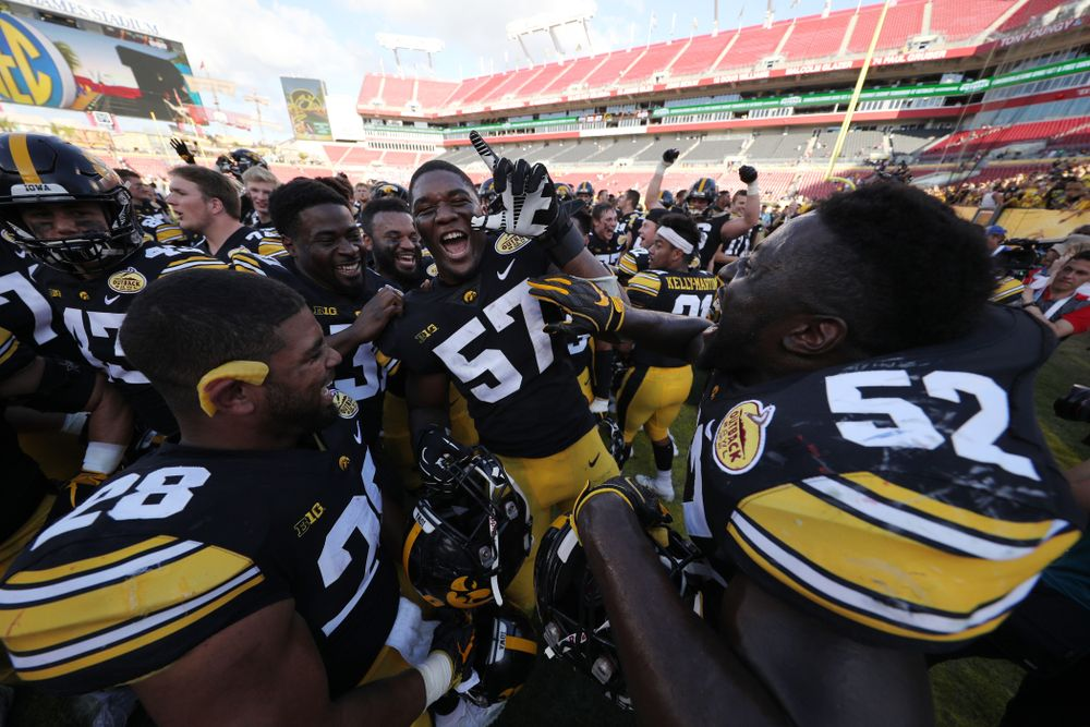 Iowa Hawkeyes defensive end Chauncey Golston (57) during their Outback Bowl Tuesday, January 1, 2019 at Raymond James Stadium in Tampa, FL. (Brian Ray/hawkeyesports.com)