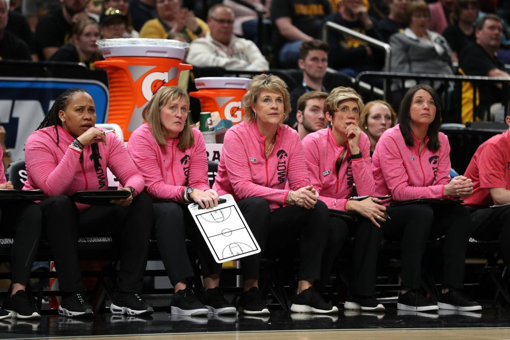 The Iowa Coaching Staff against the Rutgers Scarlet Knights in the semi-finals of the Big Ten Tournament Saturday, March 9, 2019 at Bankers Life Fieldhouse in Indianapolis, Ind. (Brian Ray/hawkeyesports.com)