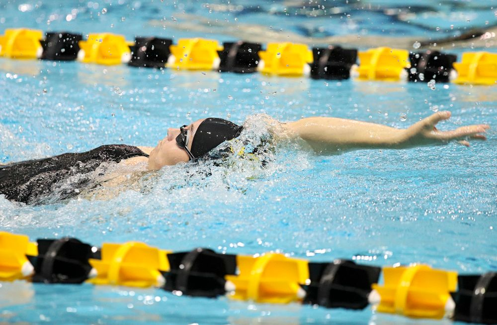 Iowa's Samantha Sauer swims the backstroke section of the 100-yard individual medley event during their meet against Michigan State at the Campus Recreation and Wellness Center in Iowa City on Thursday, Oct 3, 2019. (Stephen Mally/hawkeyesports.com)