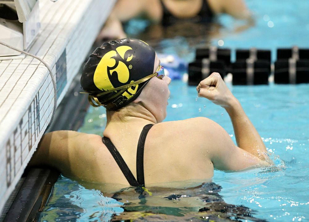 Iowa's Aleksandra Olesiak pumps her fist after swimming the women's 200 yard individual medley preliminary event during the 2020 Women's Big Ten Swimming and Diving Championships at the Campus Recreation and Wellness Center in Iowa City on Thursday, February 20, 2020. (Stephen Mally/hawkeyesports.com)