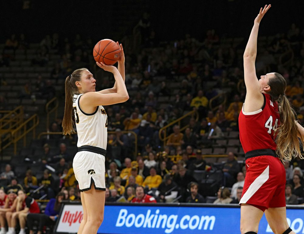 Iowa Hawkeyes forward Amanda Ollinger (43) puts up a shot during the third quarter of the game at Carver-Hawkeye Arena in Iowa City on Thursday, February 6, 2020. (Stephen Mally/hawkeyesports.com)