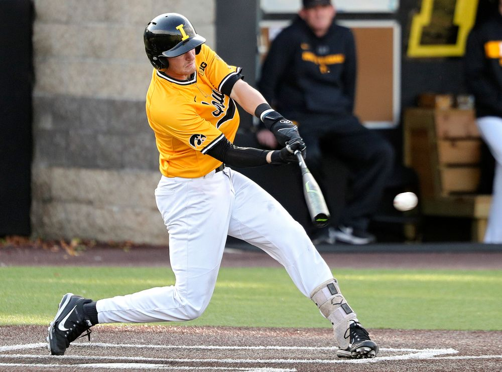 Iowa infielder Brendan Sher (2) drives a pitch for a hit during the fourth inning of the first game of the Black and Gold Fall World Series at Duane Banks Field in Iowa City on Tuesday, Oct 15, 2019. (Stephen Mally/hawkeyesports.com)