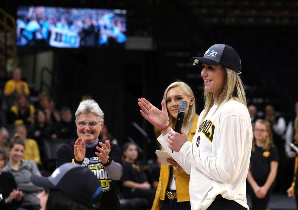 Iowa Hawkeyes forward Hannah Stewart (21) during a celebration of their Big Ten Women's Basketball Tournament championship Monday, March 18, 2019 at Carver-Hawkeye Arena. (Brian Ray/hawkeyesports.com)
