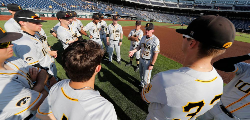 Iowa Hawkeyes associate had coach Marty Sutherland against the Michigan Wolverines in the first round of the Big Ten Baseball Tournament  Wednesday, May 23, 2018 at TD Ameritrade Park in Omaha, Neb. (Brian Ray/hawkeyesports.com)