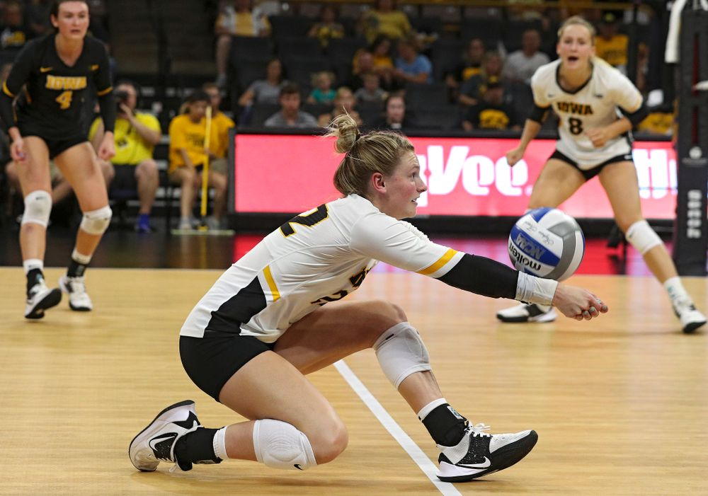 Iowa's Jaedynn Evans (22) gets a dig during the third set of their Big Ten/Pac-12 Challenge match against Colorado at Carver-Hawkeye Arena in Iowa City on Friday, Sep 6, 2019. (Stephen Mally/hawkeyesports.com)