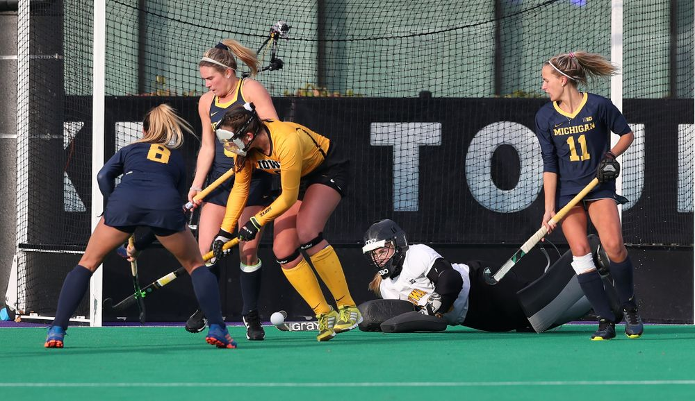 Iowa Hawkeyes Leslie Speight (96) defends a shot on a penalty corner against the Michigan Wolverines in the semi-finals of the Big Ten Tournament Friday, November 2, 2018 at Lakeside Field on the campus of Northwestern University in Evanston, Ill. (Brian Ray/hawkeyesports.com)
