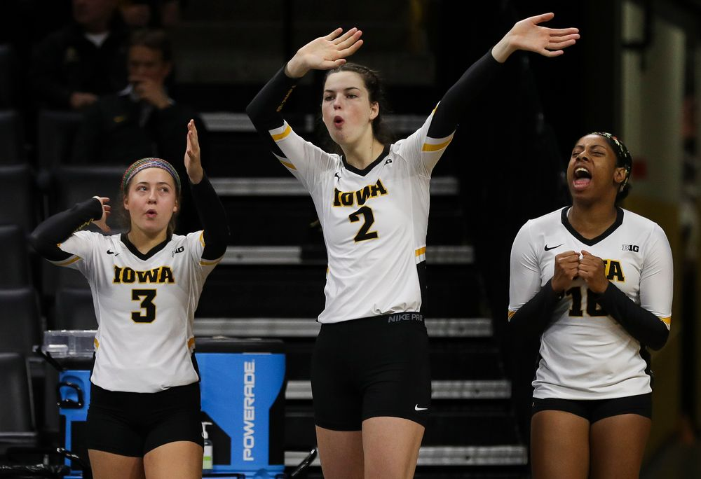 Iowa Hawkeyes defensive specialist Maddie Hine (3), Iowa Hawkeyes setter Courtney Buzzerio (2) and Iowa Hawkeyes outside hitter Griere Hughes (10) react after an ace during a match against Nebraska at Carver-Hawkeye Arena on November 7, 2018. (Tork Mason/hawkeyesports.com)