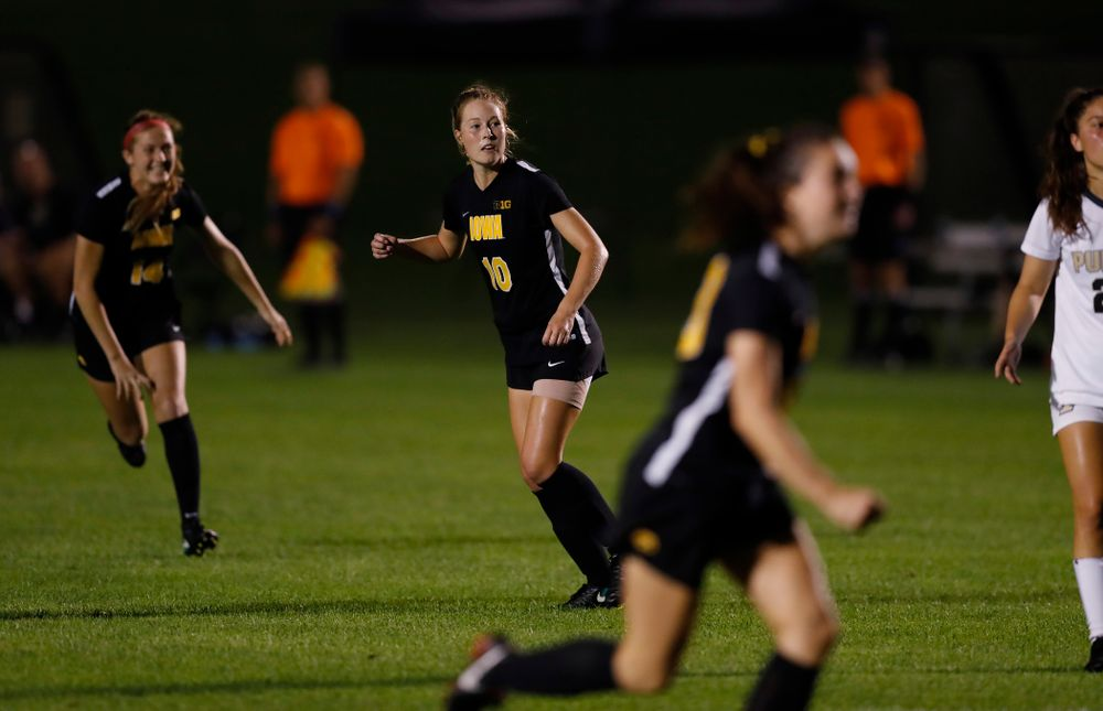 Iowa Hawkeyes Natalie Winters (10) against the Purdue Boilermakers Thursday, September 20, 2018 at the Iowa Soccer Complex. (Brian Ray/hawkeyesports.com)
