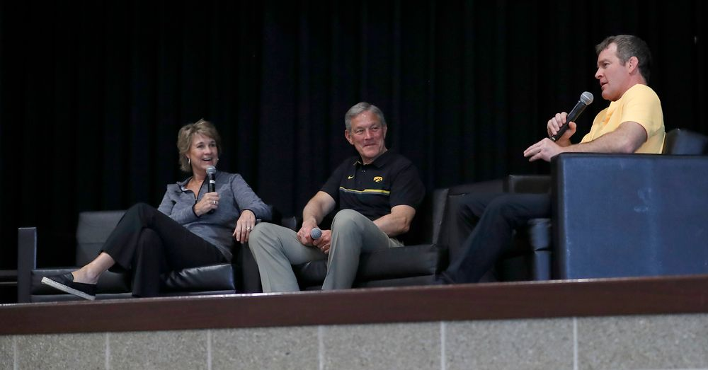 Lisa Bluder, Kirk Ferentz, Tom Brands -- Hawkeye Fan Event at the Quad-Cities Waterfront Convention Center in Bettendorf, Iowa, on May 15, 2019.