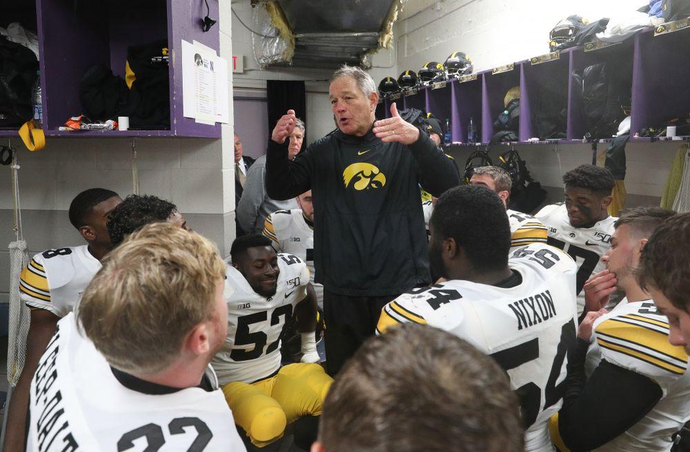 Iowa Hawkeyes head coach Kirk Ferentz against the Northwestern Wildcats Saturday, October 26, 2019 at Ryan Field in Evanston, Ill. (Brian Ray/hawkeyesports.com)
